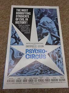 PSYCHO-CIRCUS-LOT-OF-10-1966-CHRISTOPHER-LEE-ORIGINAL-PRESSBOOK