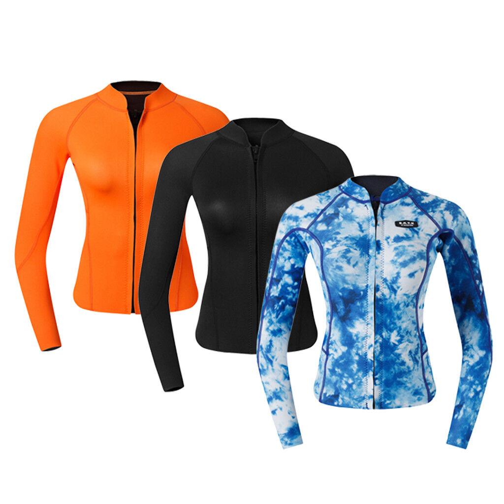 Professional Women's 2mm Neoprene Long Sleeve Wetsuit Top for Water Sports