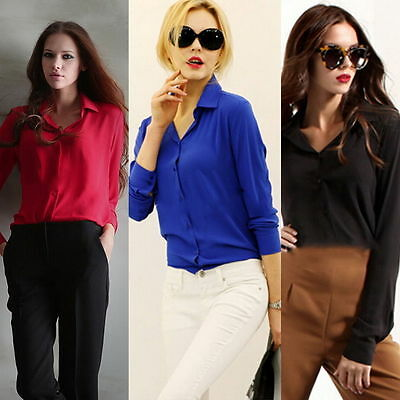 Trendy Women Casual Blouse Loose Long Sleeve Chiffon Shirt Tops Blouse