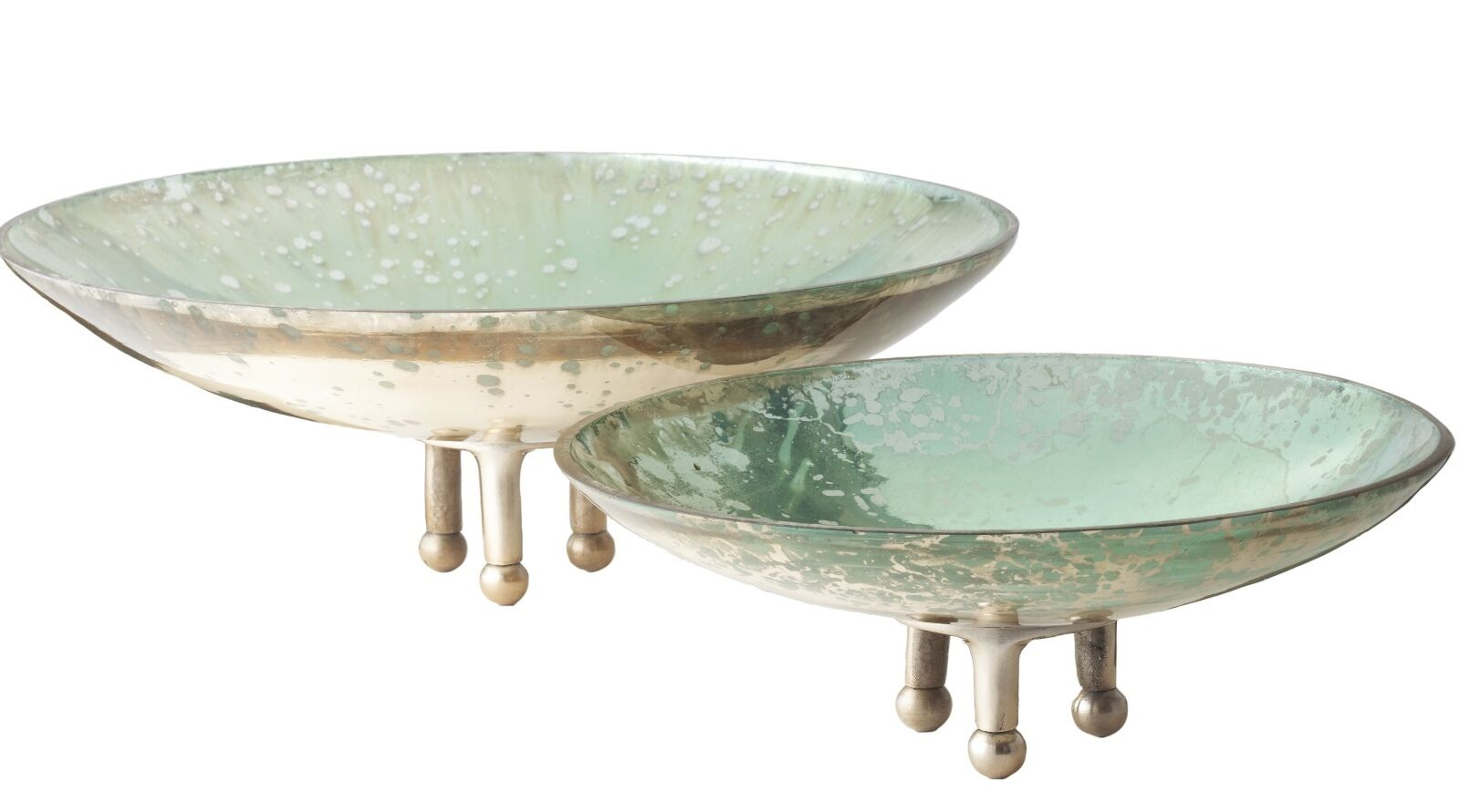 NEW Bohemian Mercury Pedestal Bowl Blau Grün Gilded Glass Decorative Art Object