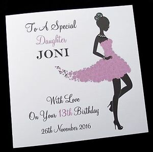 Image Is Loading Personalised Birthday Card Sister Daughter Friend Niece 13th