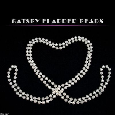 1920 Flapper White Pearls Beads Gatsby Costume Accessory EXTRA Long 183cm