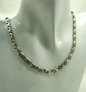 Vintage-Heavy-Solid-Silver-Sixstar-Mexico-Fancy-Link-Necklace