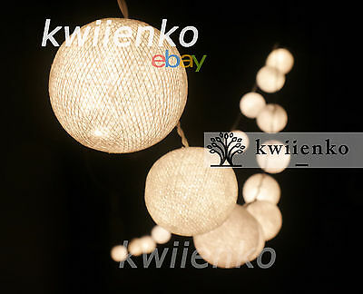 35 White Cotton Ball Fairy String Light Party Bedroom Wedding Hanging Decor Home