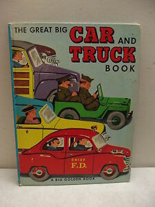 1951 BIG GOLDEN BOOK CAR AND TRUCK RICHARD SCARRY VINTAGE CHILDRENS LARGE BOOK