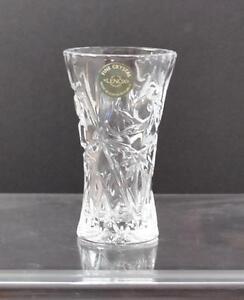 """Vintage Lenox Clear Star Fan Glass Bud Flower Floral Vase W/ Sticker Heavy 4"""" B7"""