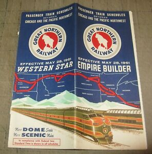 1961 GREAT NORTHERN RAILWAY RR Time Table Brochure - Empire Builder - May 28