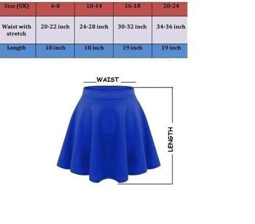 Women Girls Skater Belted Stretch Waist Plain Flippy Flared Jersey Short Skirt P