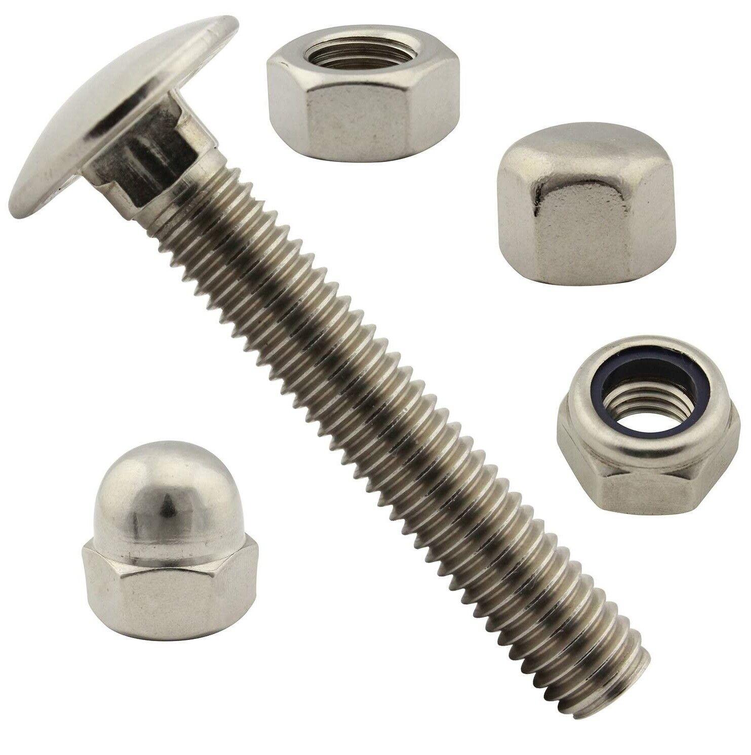 Flachrundschrauben   Schloßschrauben in M5 DIN 603 mit Muttern Edelstahl A2 V2A