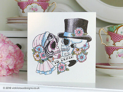 TIL DEATH Bride & Groom Sugar Skull Tattoo Luxury Handmade Blank Wedding Card
