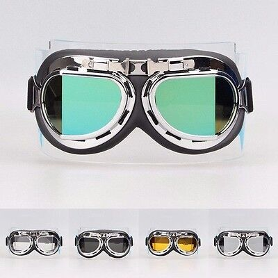Retro Vintage Aviator Pilot Motorcycle Bevel Lens Goggles Eyewear Black Silver