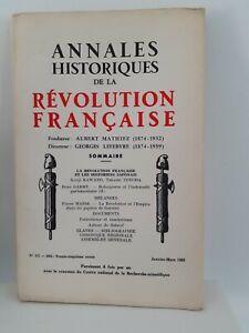 Rivista Annali Storici Della Revolution Francaise Janv-Mars 1963 N° 171