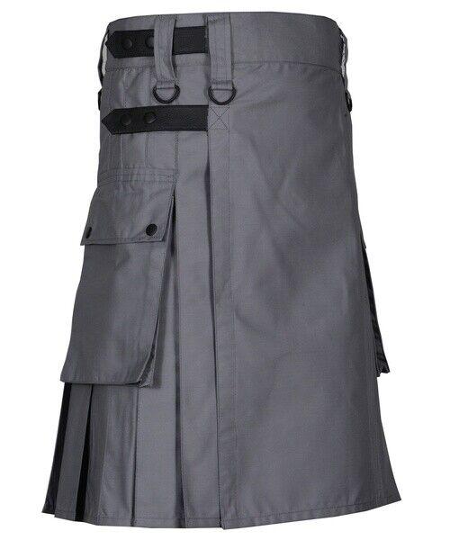 Tactical Deluxe Duty Cargo Kilt Scottish Utility Grey Cotton Kilt For Men