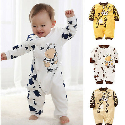 Baby Girl Newborn Boys Cotton Long Sleeve Jumpsuit Romper Climbing Clothes 0-24M