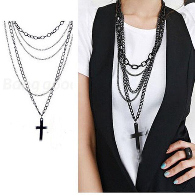 Vintage Retro Fashion Womens Cross Pendant Long Chain Charm Necklace Black Gift