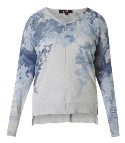 Pullover lavorato a maglia con scollo a V per Jeans da donna-Blu grandi dimensioni Manica Lunga-Shirt