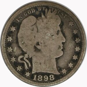 1898-S Silver Barber Quarter Raw Circulated US Coin