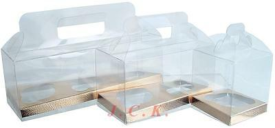 Cupcake cup cake box wedding birthday celebration clear acetate holds 1 , 2 or 3