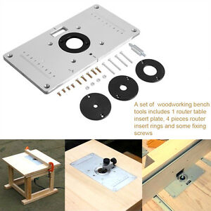 Aluminum router table insert plate w 4 rings screws for image is loading aluminum router table insert plate w 4 rings keyboard keysfo Gallery