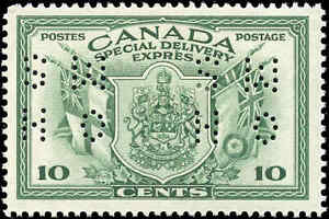 Mint-Canada-F-Scott-OE10-1942-10c-Perforated-Special-Del-Hinged
