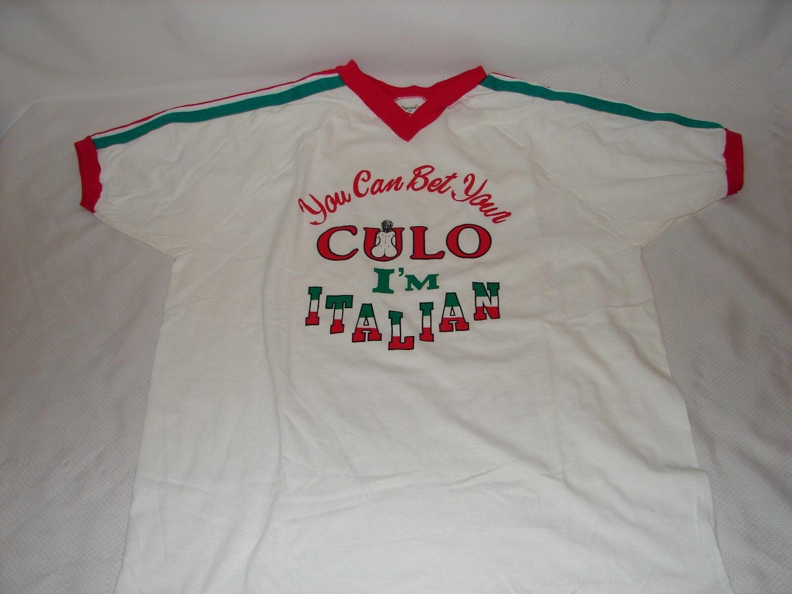 Vintage Italian Pride Ringer T Shirt Größe L