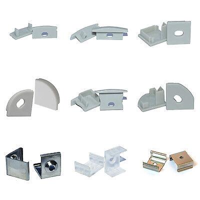 Montageclips + Endkappen für LED Alu Profile Befestigungsclips Halterung (Set)