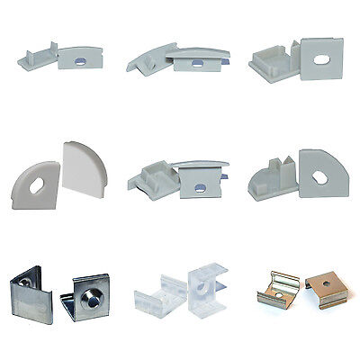 Montageclips + Endkappen für LED Alu Profile Befestigungsclips Halterung Klemmen