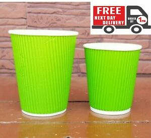 50-X-12oz-Disposable-Green-Paper-Cups-Kraft-Cups-For-Coffee-Tea-Hot-And-Cold