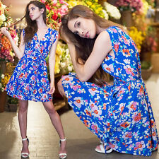 YUMI KIM SoHo Mixer Dress Mini Skirt Silk Wrap Blue Floral Love Potion Medium
