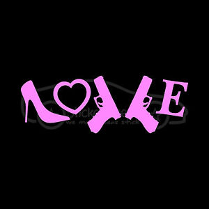 LOVE-HEELS-amp-GUNS-Sticker-Cute-Sexy-Shoes-Decal-Stiletto-Girl-Firearms-Bad-Chick