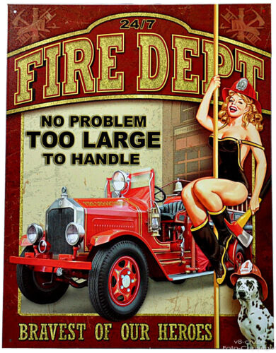 Fire Brigade Firefighter Classic Car Pin-Up Dalmation Vintage Sign 080