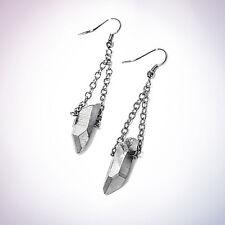 Gunmetal Crystal Quartz Earrings-Natural Bullet Stone Aura-Vintage Boho Bohemian