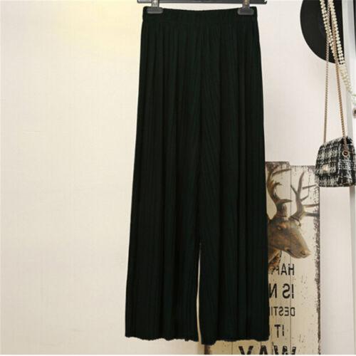 Pantalons longs pour femmes en mousseline de soie plissée pantalon large-jambeHQ