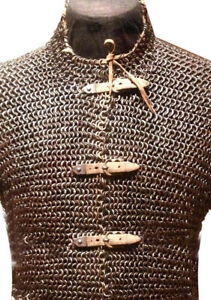 Details about  /Flat Riveted Rings Chain mail Extra large size Hauberk frant open shirt Oiled