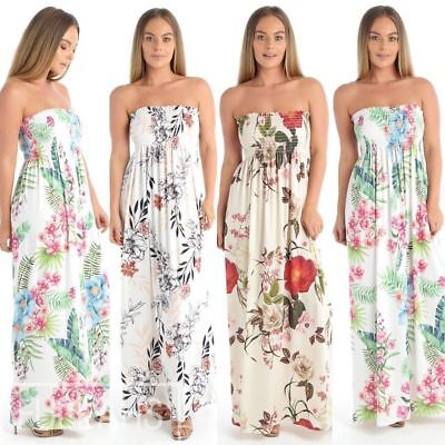 Womens Strapless Leaf Print Ladies Long Maxi Sheering Boob tube Bandeau Dress