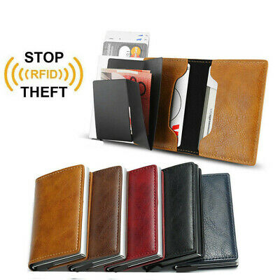 Men/'s Leather ID Credit Card Holder RFID Protector Money Wallet Clip Card Case