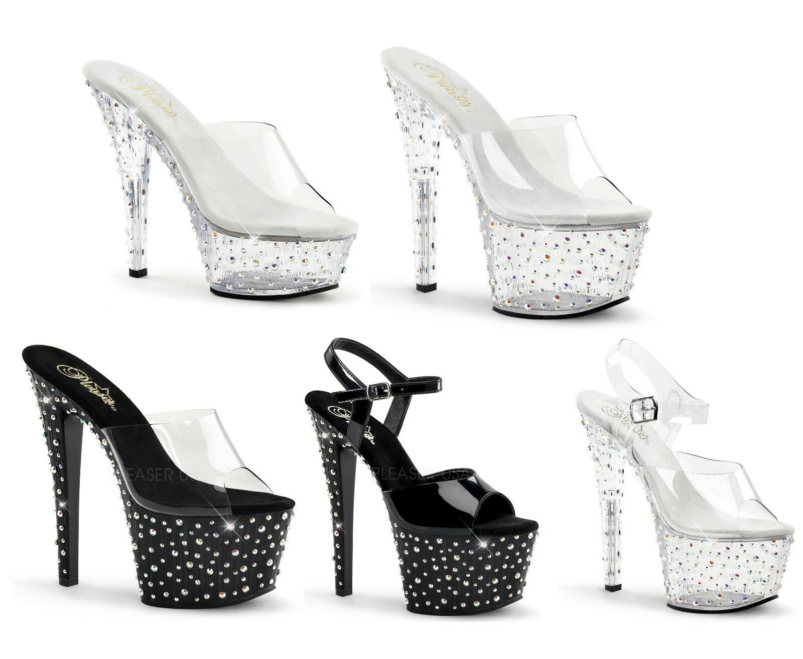 STARDANCE-601 701 708 709 PLEASER Sexy 6-7  Heel Platform Slide and Sandal