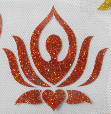 BM204 ZEN lotus IRON ON transfer patch glitter foil silver 4 inches long awesome
