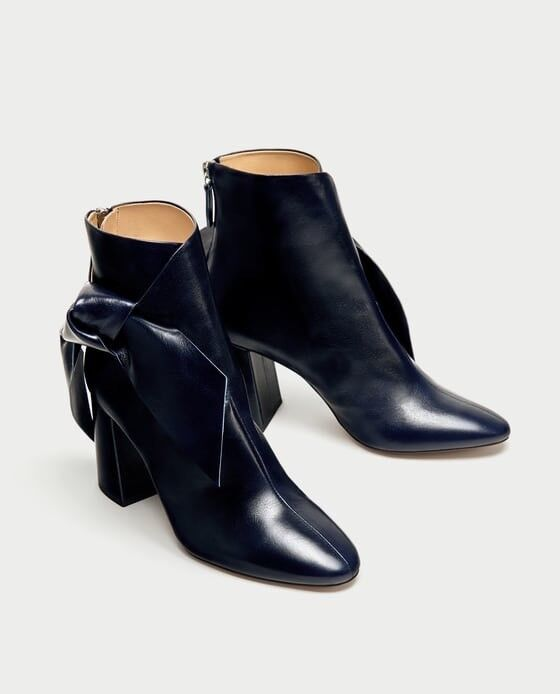 Zara AW17 Leather High Heel Ankle stivali With Bow Dimensione 6.5 NWT