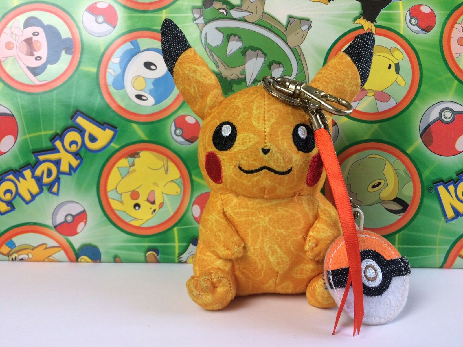 Pokemon Center Pikachu Beams Patchwork Plush 2013 Keychain Doll Stuffed figure