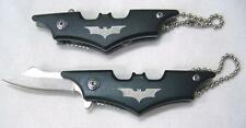 BLACK BATMAN KNIFE KEY CHAIN new bat man lock blade pocket knife w ball keychain