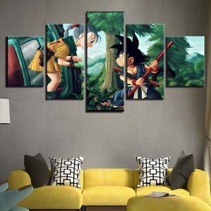 Details About 5 Panels Dragon Ball Z Goku Bulma Canvas Print Painting Wall Art Home Decor