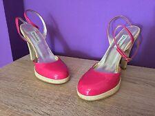 Ladies Dune Patent Platform Shoes, Taffy, Raffia, Pink. Size 37, Heel. UK Size 4