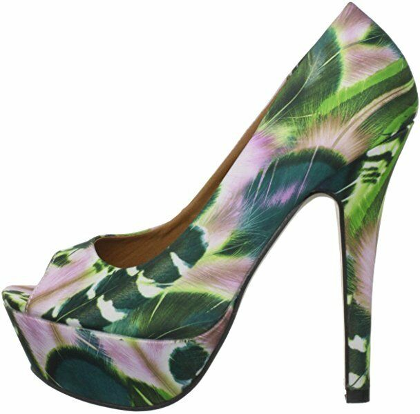 DUNE HOH Taille 4 5 7 vert   rose DAINTY H FLORAL PEEP TOE COURT chaussures