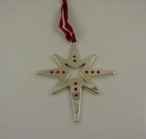 silver-plated-Harvey-Lewis-swarovski-red-crystals-Christmas-star-Ornament-xmas