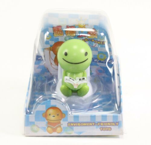 Solar Power Toy Green Nohohon Reading On The Toilet Car Dashboard Gift US Seller