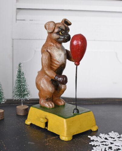 Mechanische Figur Gusseisen Mops Hundefigur Boxring Hund Boxer Antik Skulptur