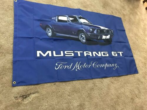 Ford Mustang GT Flag Banner 3x5 Ft Flag Garage Car Show Wall Gift New!