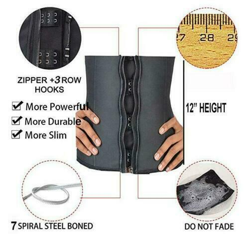 7 Steel Boned Sport Latex Waist Trainer Zipper Body Shaper Cincher Slim Corset