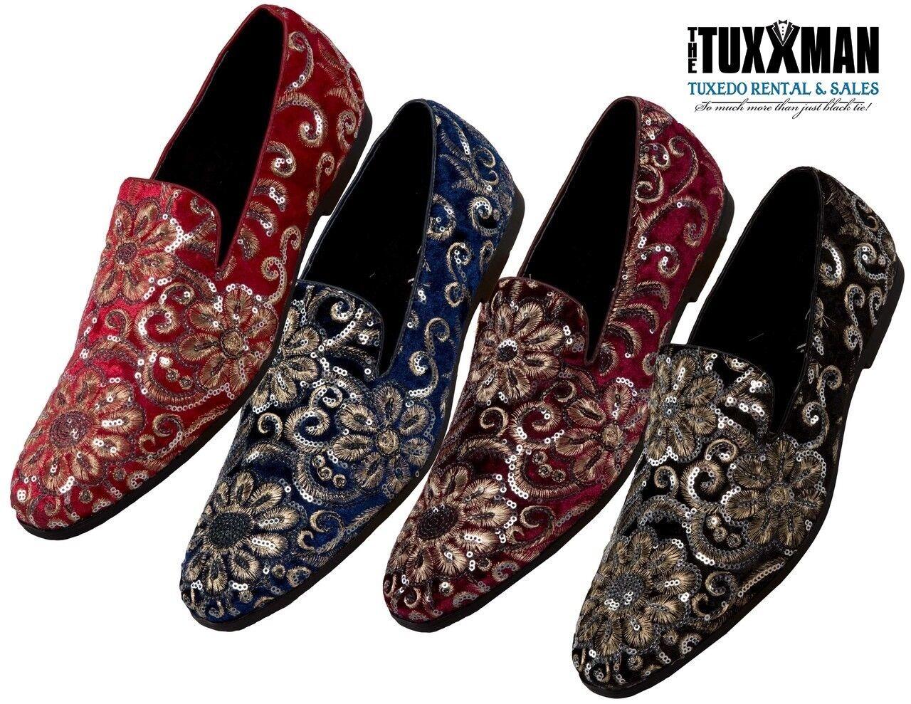 New Mens Sequin Embroidered Slip On Loafers TUXXMAN Smoking Slipper TUXEDO